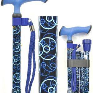 canne de marche aluminium rond bleus